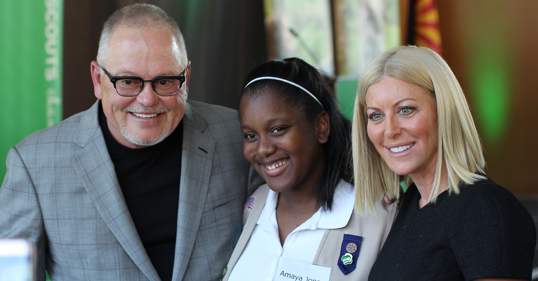 Renee & Bob Parsons with a Girl Scout