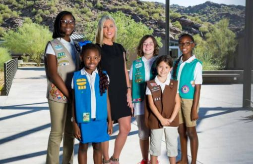Renee Parsons with Girl Scouts