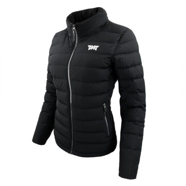 Womens-Down-Hooded-Swing-Jacket-Black-Angle