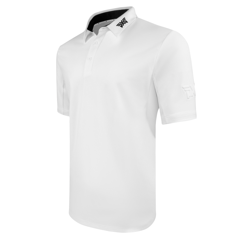 Mens Textured Stretch Polo White Angle