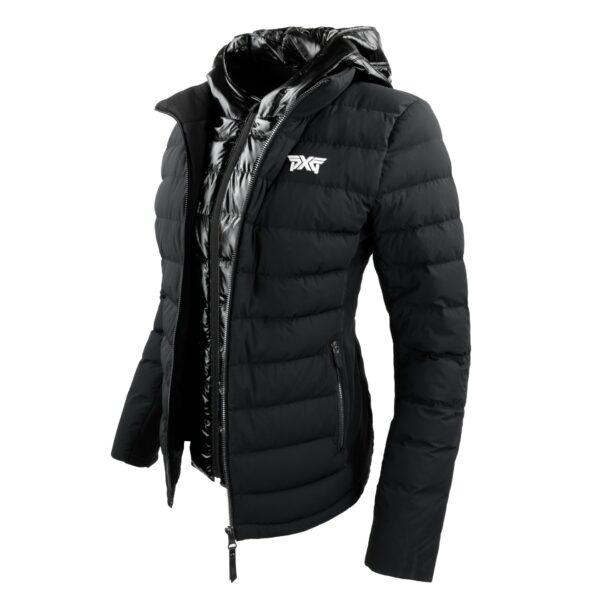 Womens-Down-Hooded-Swing-Jacket-Black-Angle-Hood (2)
