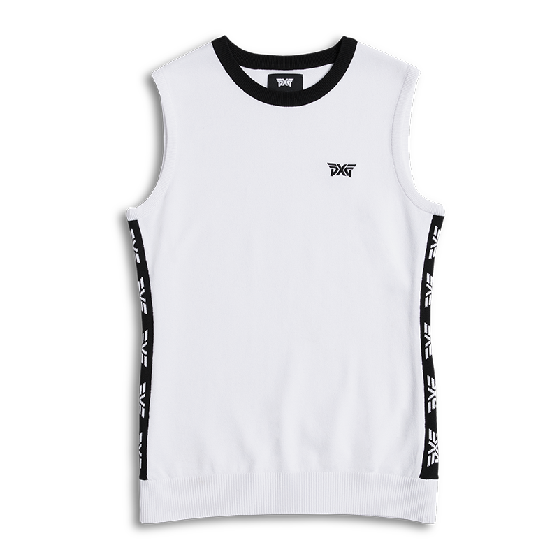 Womens-Logo-Tape-Sleeveless-Sweater-White-Lay-Flat-800x800