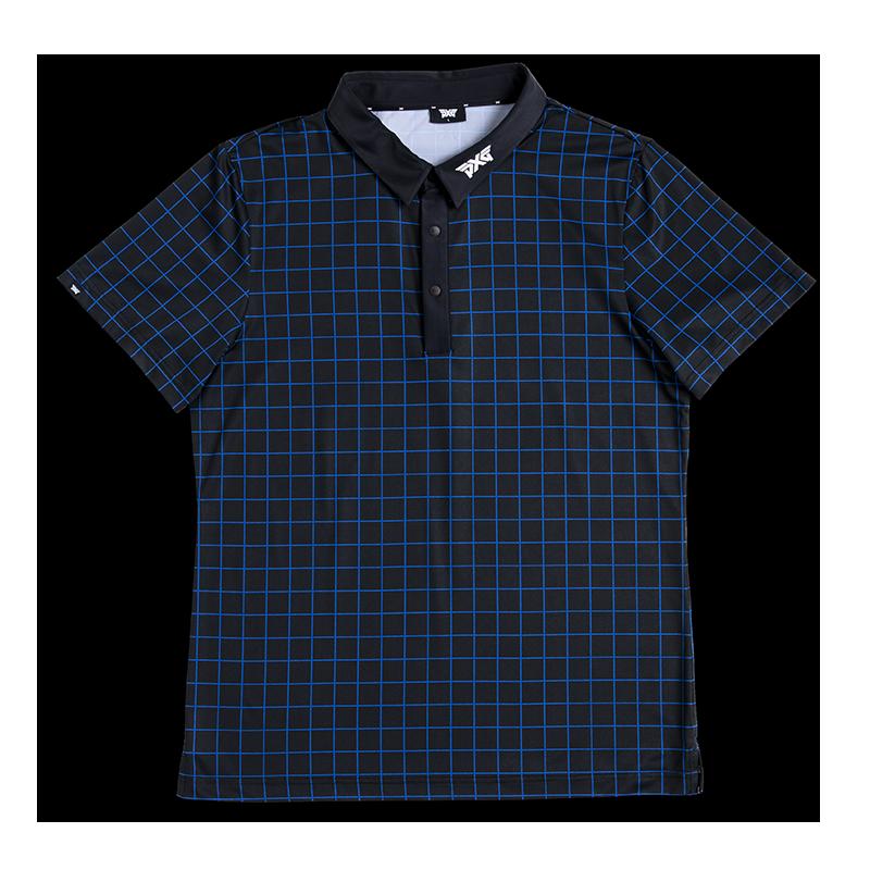 Mens-Checked-Polo-Athletic-Black-Blue-Check-Lay-Flat-800x800