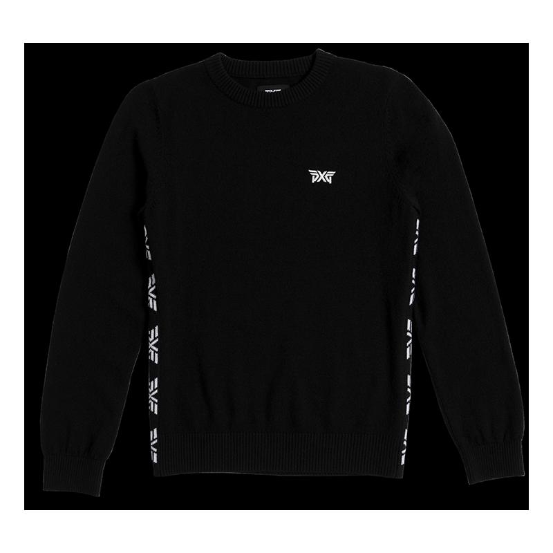 Womens-Logo-Tape-Sweater-Black-Lay-Flat-800x800