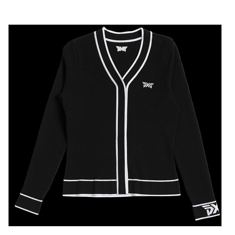 Womens-Varsity-V-Neck-Cardigan-Black-Lay-Flat-800x800