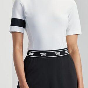 Womens-Banded-Mock-Neck-Shirt-White-Front-2-Medium